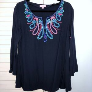 Lilly Pulitzer SIZE L navy summer embroidered  top